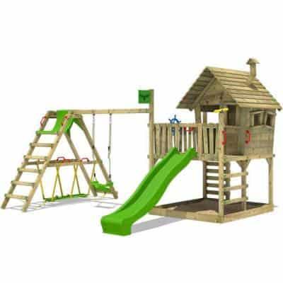 FATMOOSE Aire de jeux en bois WackyWorld Mega XXL Cabane Maison