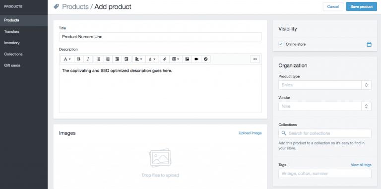 Shopify - Ajout de produit